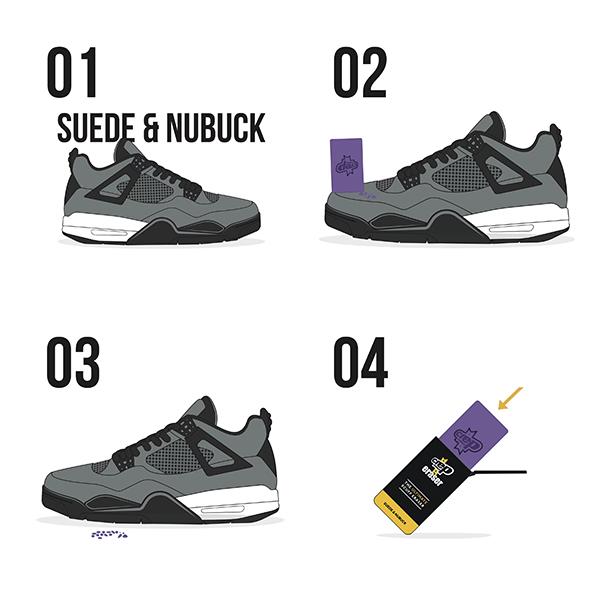 مراحل استفاده از اسفنج تمیزکننده کفش