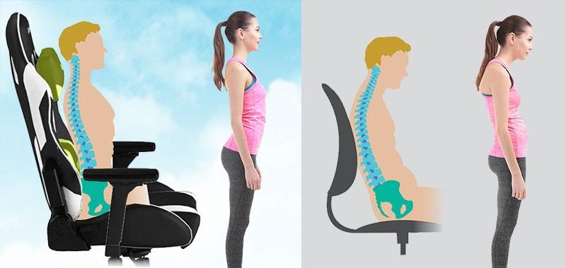 مقایسه فرم بدن در استفاده از صندلی عادی و صندلی گیمینگ